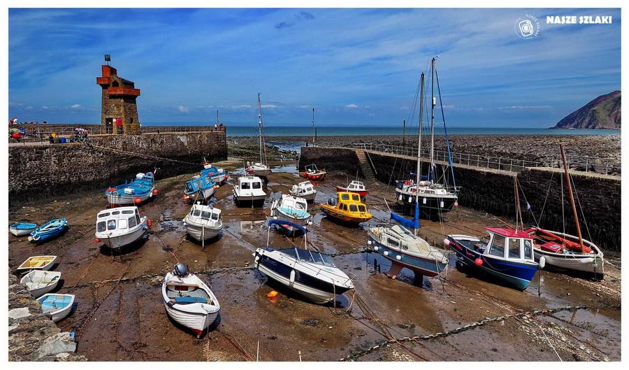 Wielka-Brytania-Anglia-Bristol-Valley-of-rocks-Lynthon-Lynmouth-łodzie-plaża-jachty-kanał-bristolski