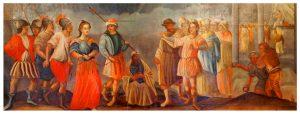 Jeden z eksponatów z muzeum w Chełmnie. Obraz przedstawiający sceny z życia mieszkańców przed wiekami.